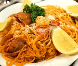 Seafood and Aligue Pasta