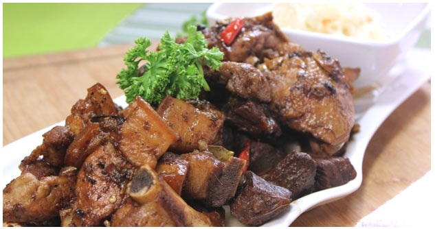 Chicken, Pork and Beef Adobo with Atcharang Papaya Recipe