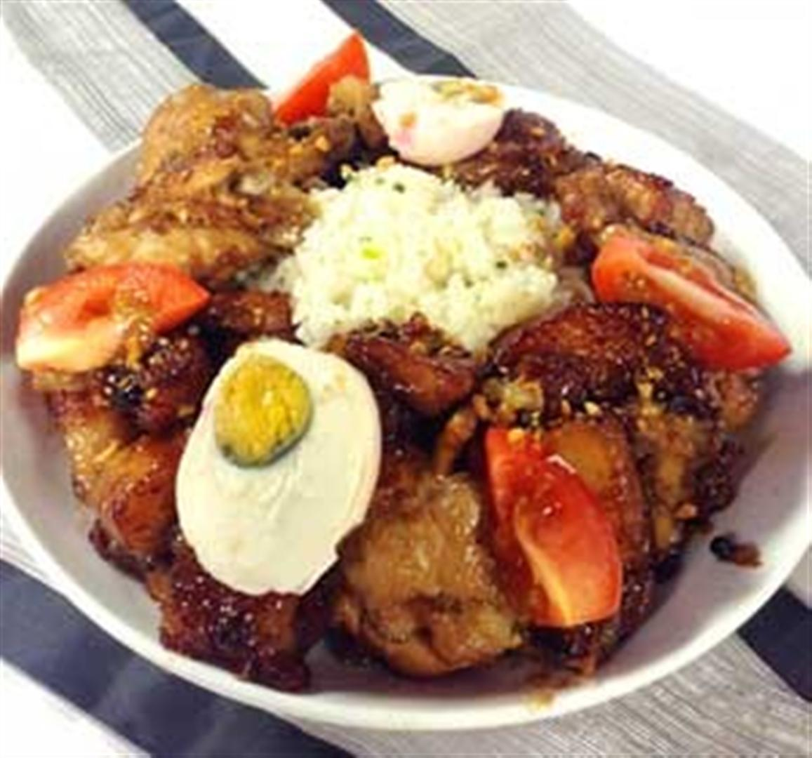 Garlic fried rice with twice cooked chicken and pork adobo recipe garlic fried rice with twice cooked chicken and pork adobo recipe panlasang pinoy recipes ccuart Images