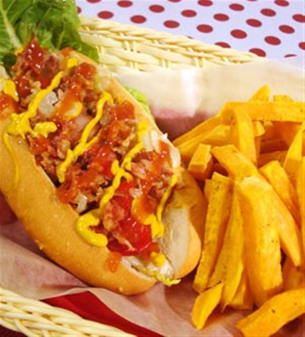 Hotdogs Wred In Bacon Sandwich With Sweet Potato Fries Recipe