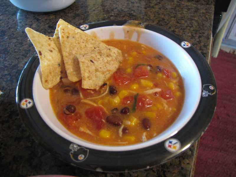 Creamy Tomato Chicken Soup With Tortilla Chips Recipe Panlasang Pinoy Recipes